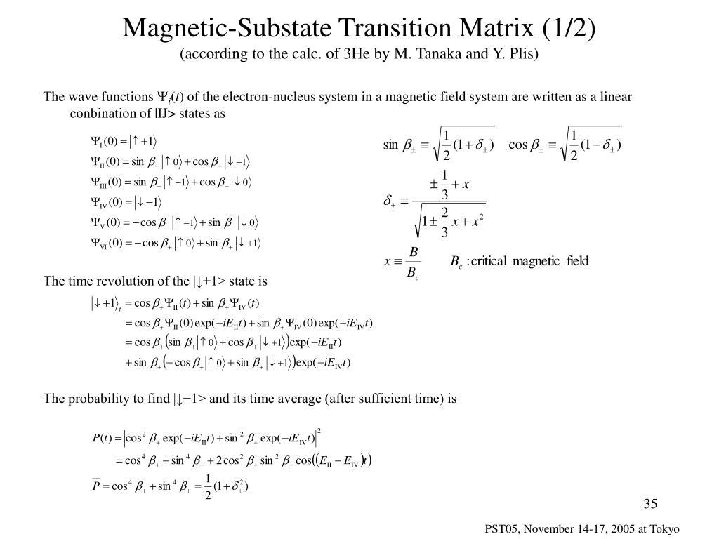 Magnetic-Substate Transition Matrix (1/2)
