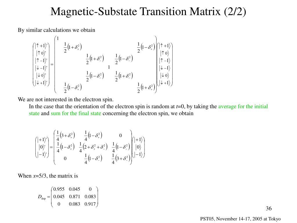 Magnetic-Substate Transition Matrix (2/2)