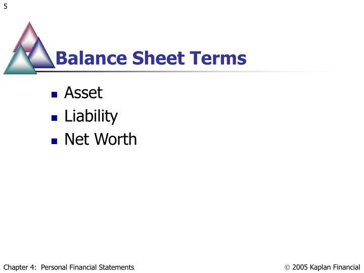 Balance Sheet Terms