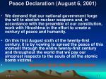 peace declaration august 6 2001