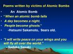 poems written by victims of atomic bombs