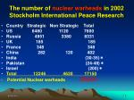 the number of nuclear warheads in 2002 stockholm international peace research