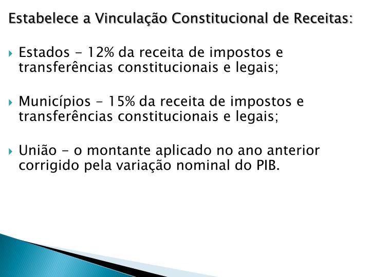 Estabelece a Vinculação Constitucional de Receitas: