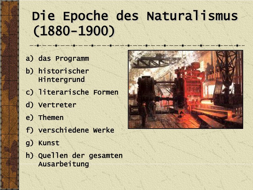 Politischer hintergrund naturalismus
