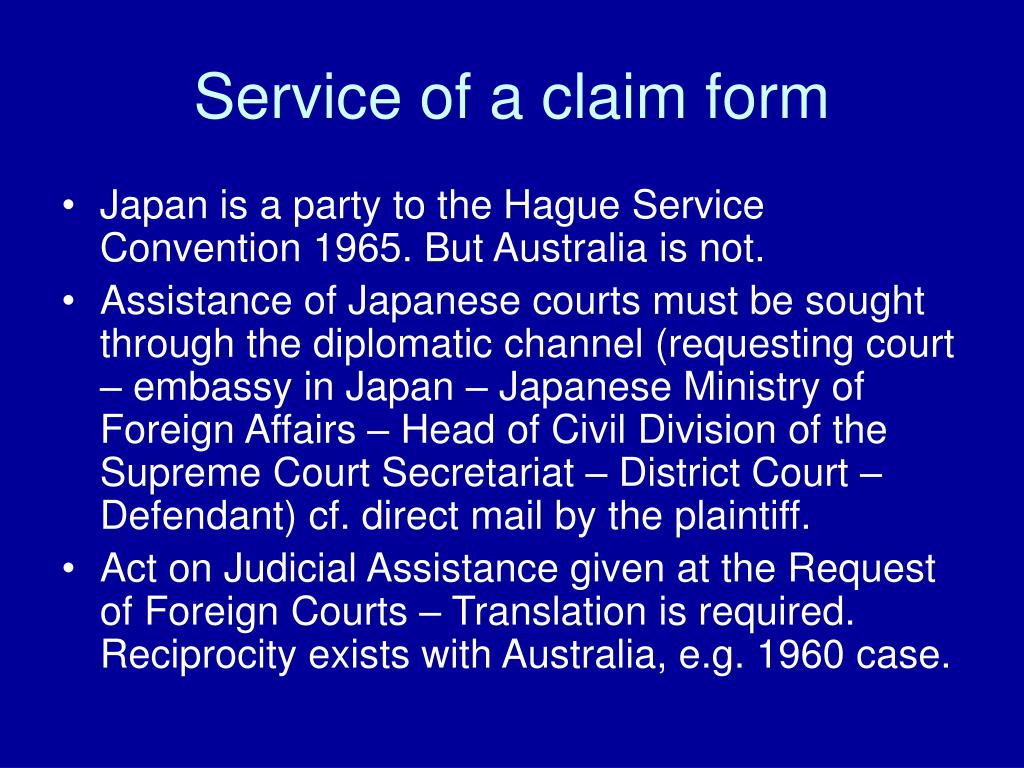 Service of a claim form