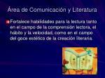 rea de comunicaci n y literatura