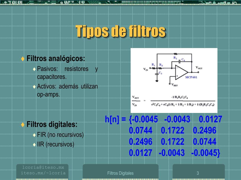 Tipos de filtros analógicos y sus características