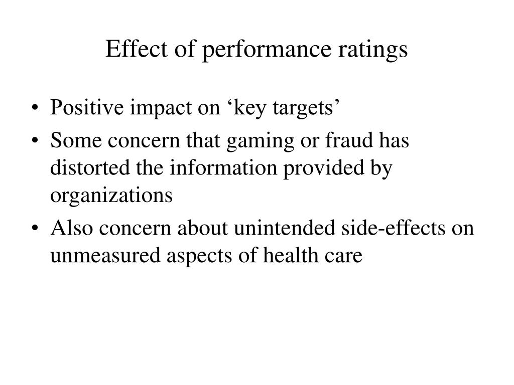 Effect of performance ratings