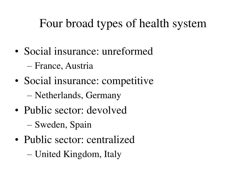 Four broad types of health system