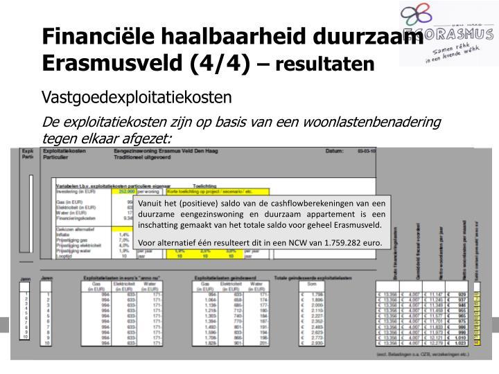 Financiële haalbaarheid duurzaam Erasmusveld (4/4)