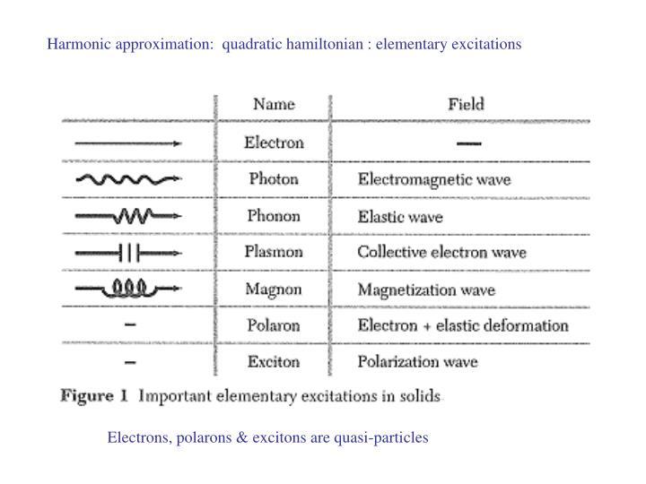 Harmonic approximation:  quadratic hamiltonian : elementary excitations