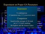 experiment on proper ga parameters