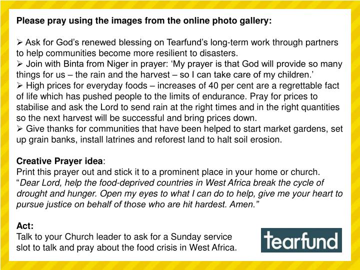 Please pray using the images from the online photo gallery: