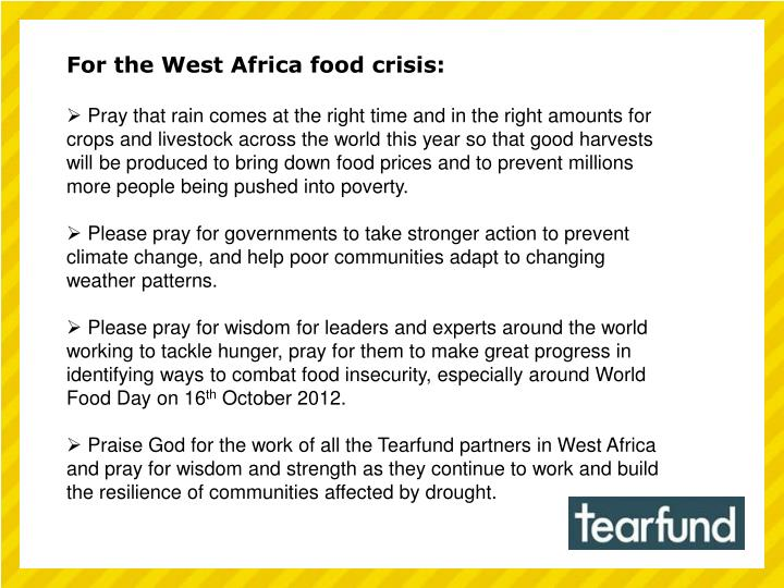 For the West Africa food crisis: