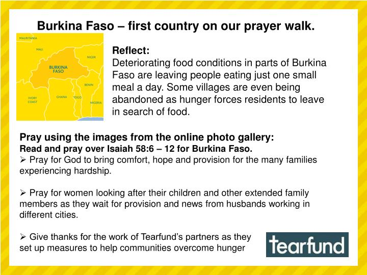 Burkina Faso – first country on our prayer walk.
