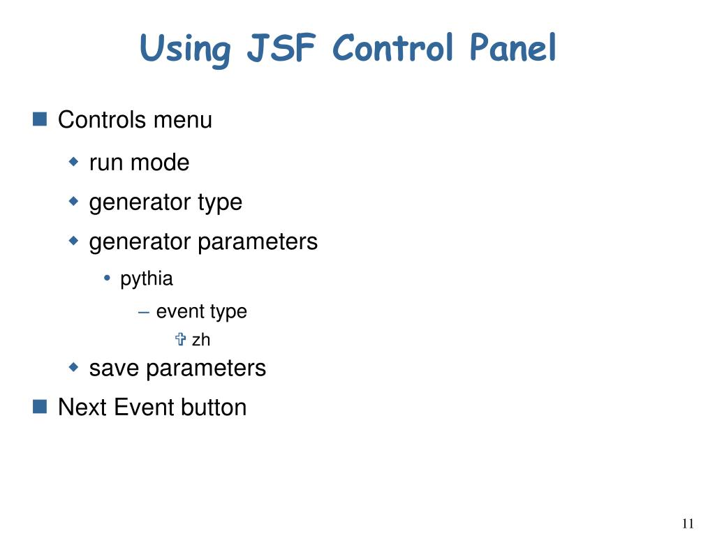 Using JSF Control Panel