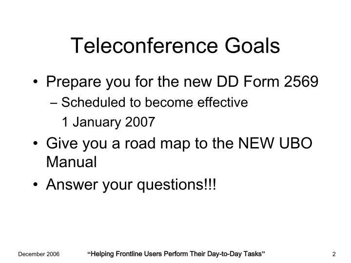 Teleconference goals