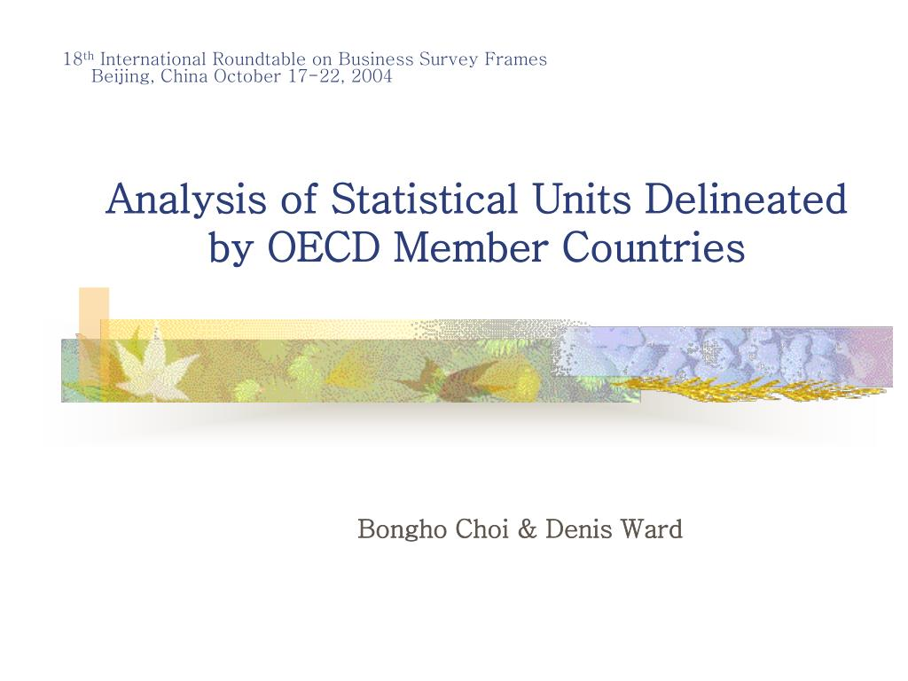 analysis of statistical units delineated by oecd member countries l.