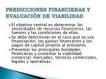 predicciones financieras y evaluaci n de viabilidad
