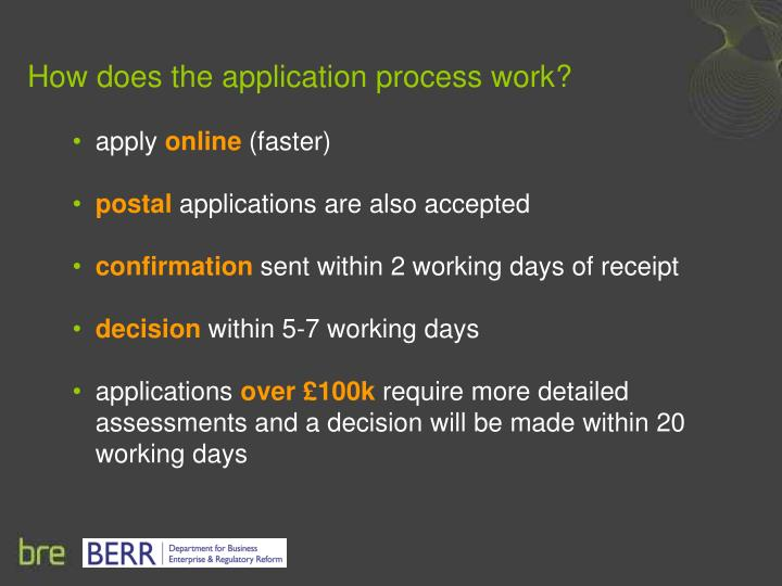 How does the application process work?