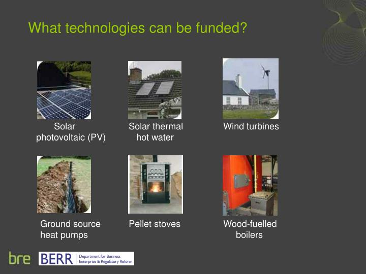 What technologies can be funded?