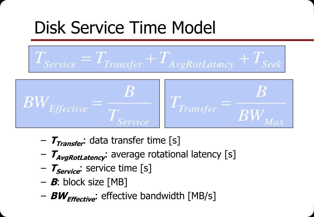 Disk Service Time Model