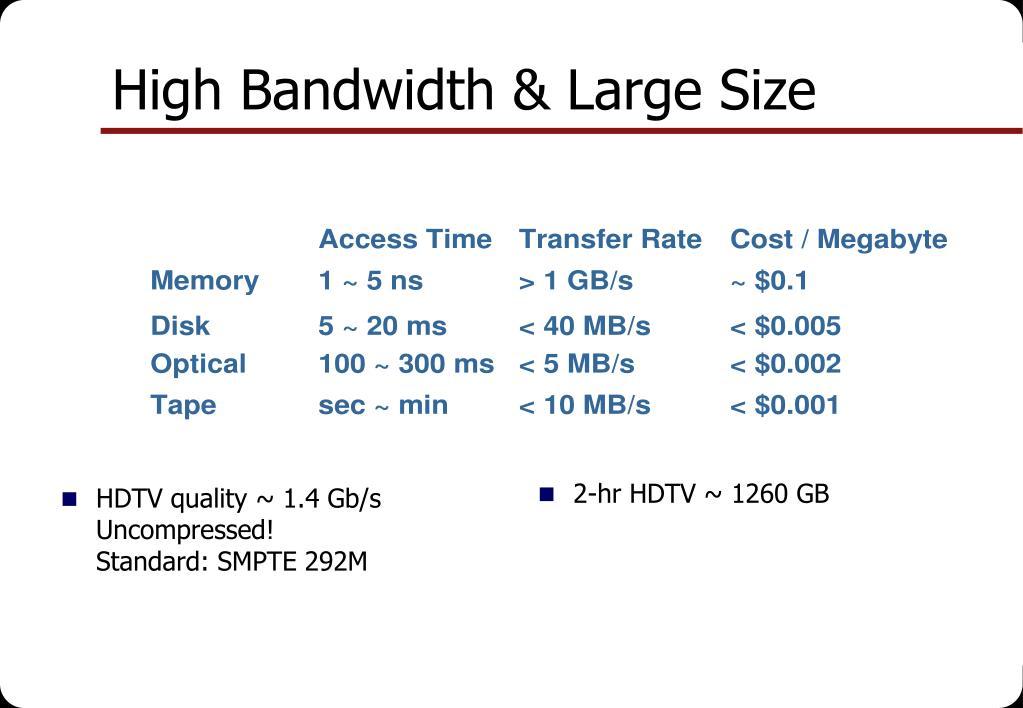 HDTV quality ~ 1.4 Gb/s