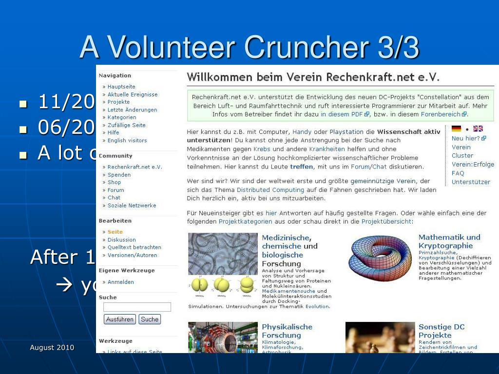 A Volunteer Cruncher 3/3