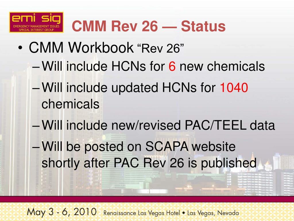 CMM Rev 26 — Status