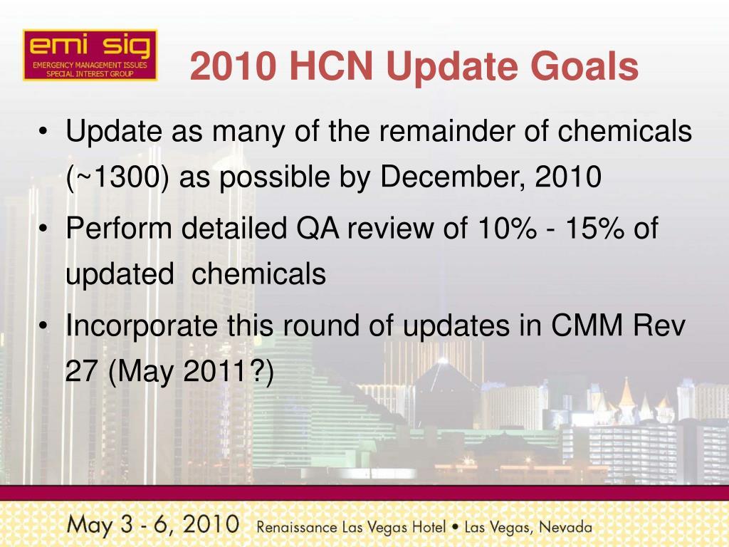 2010 HCN Update Goals