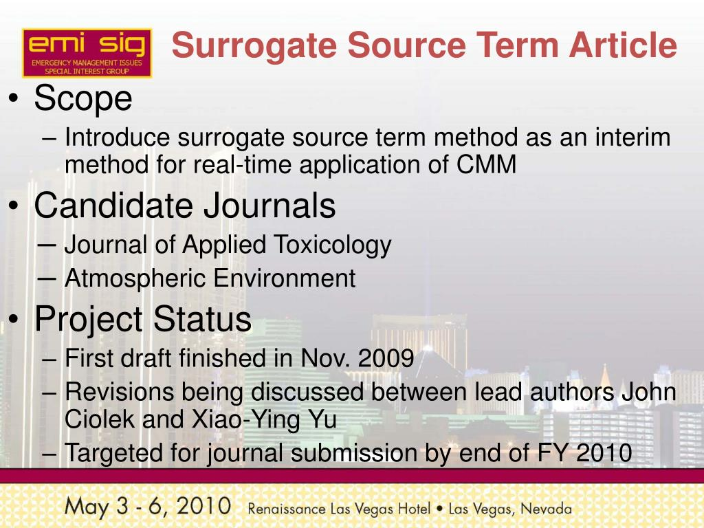 Surrogate Source Term Article