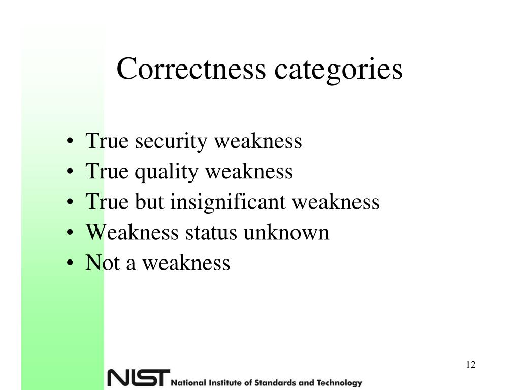 Correctness categories