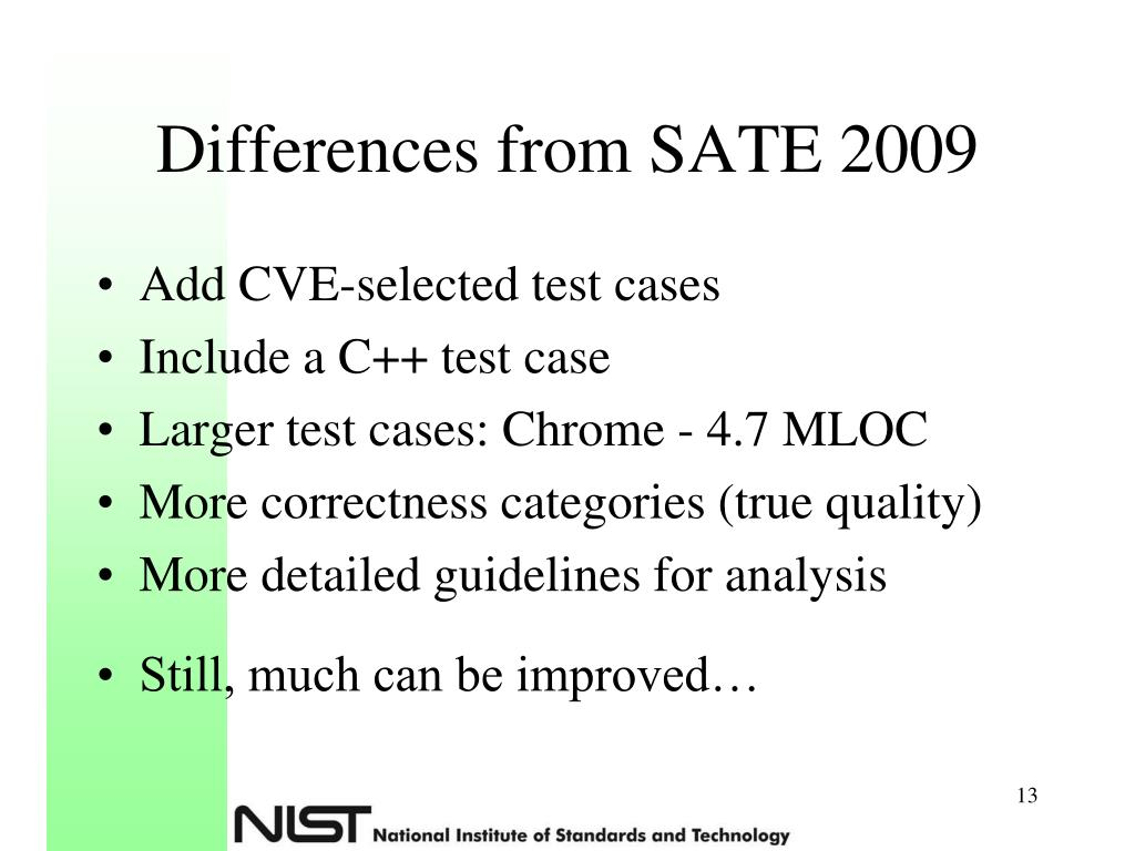 Differences from SATE 2009
