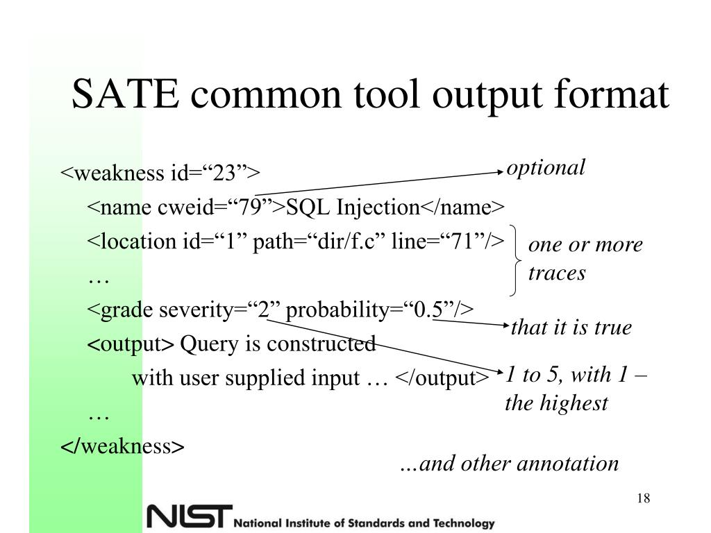 SATE common tool output format