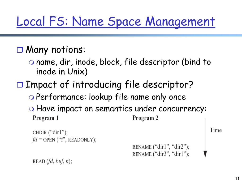 Local FS: Name Space Management