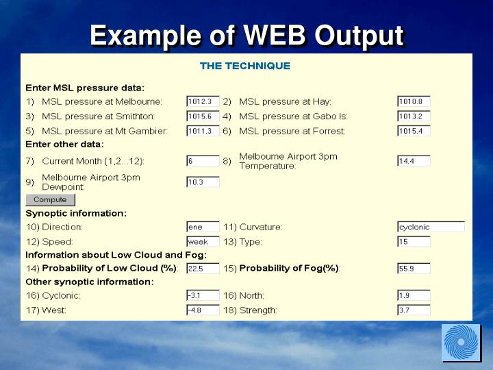 Example of WEB Output