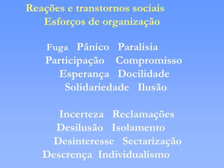 Reações e transtornos sociais