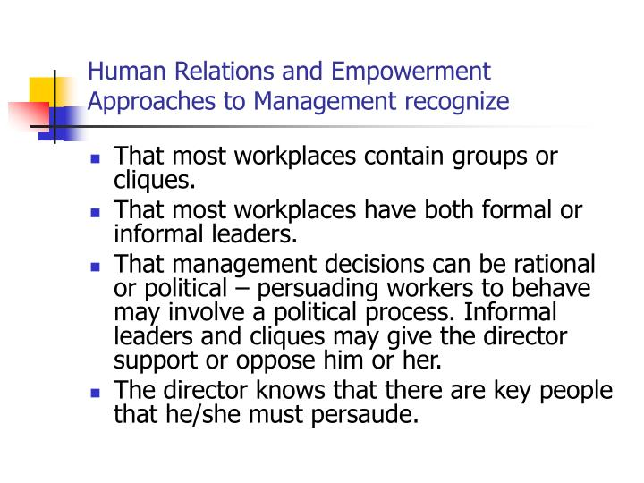 human relations vs classical approach to management essay Scientific management approach vs the human relations approach the scientific management approach the scientific management set about was developed by frederick winslow taylor at the end of the 19th 100 years to advance work productivity.
