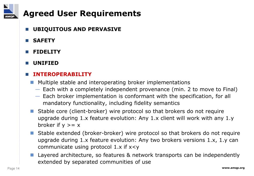 Agreed User Requirements