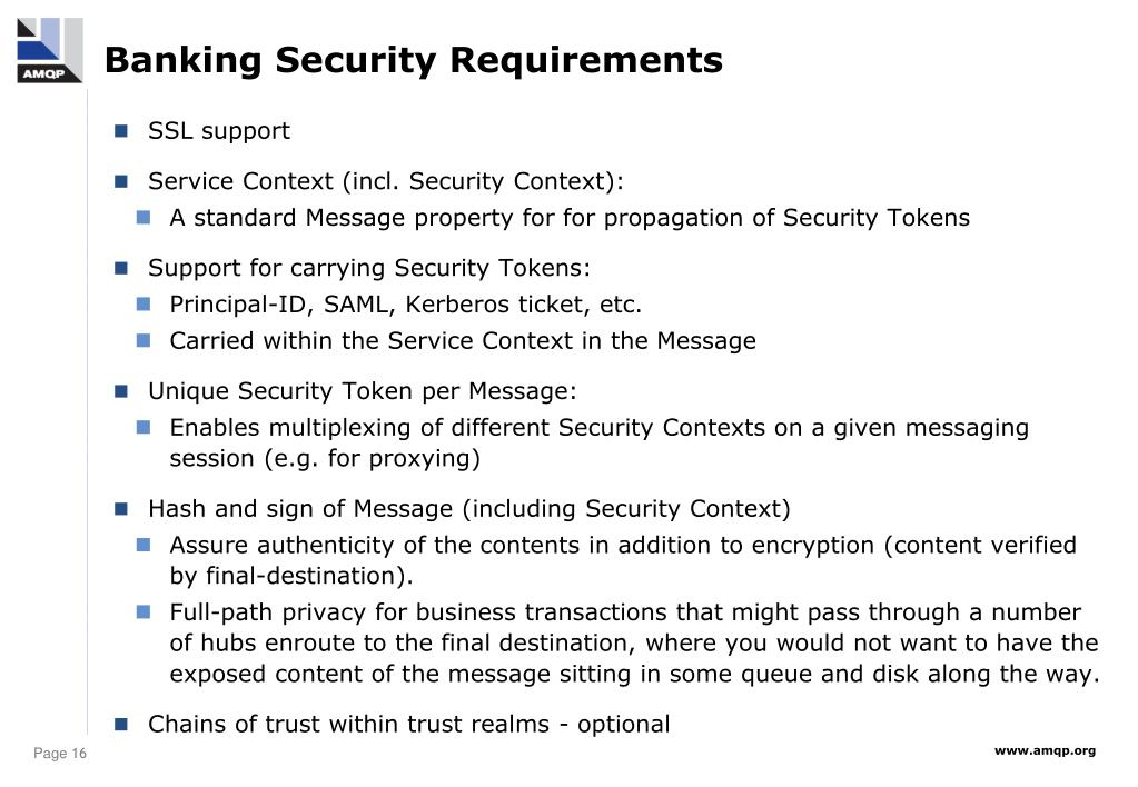 Banking Security Requirements
