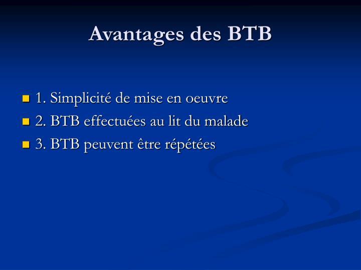 Avantages des BTB
