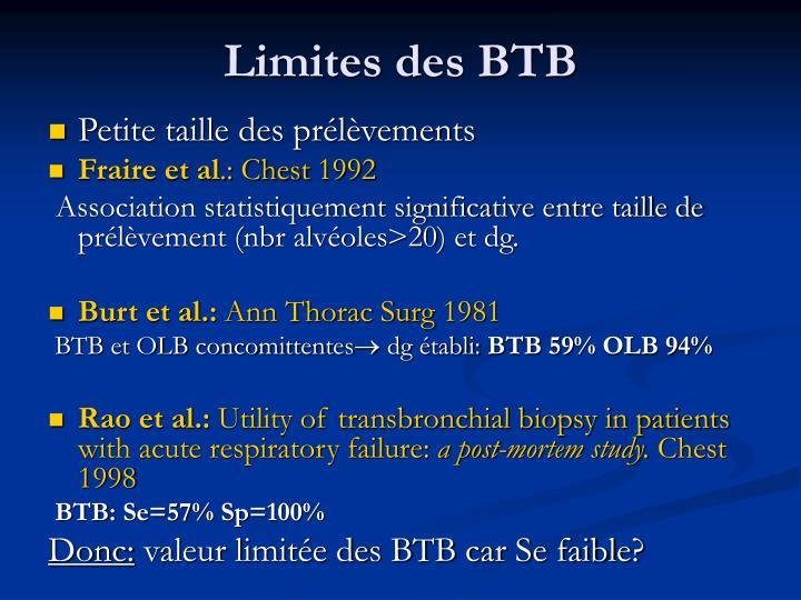 Limites des BTB