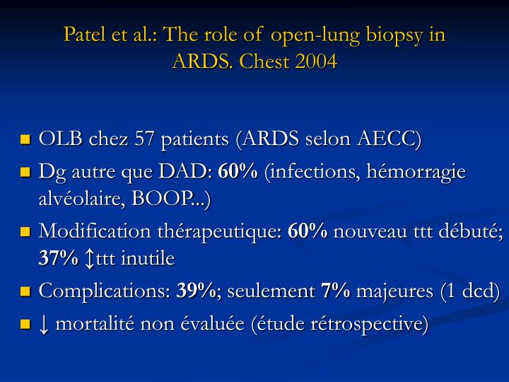 Patel et al.: The role of open-lung biopsy in ARDS.