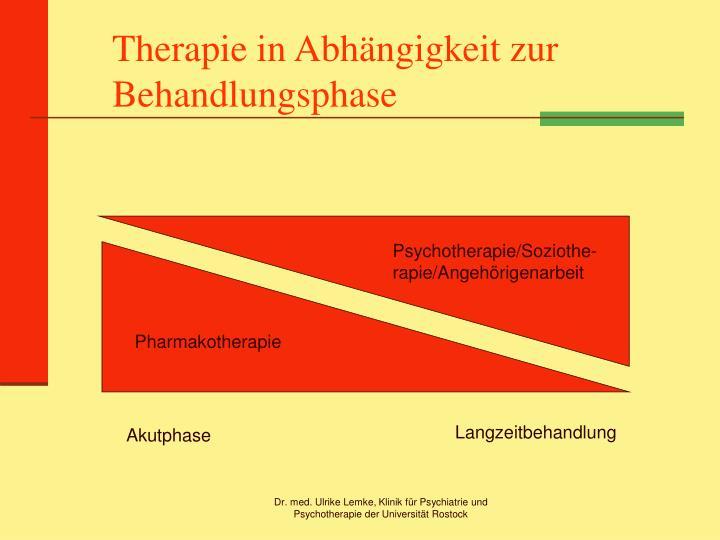 Therapie in Abhängigkeit zur Behandlungsphase