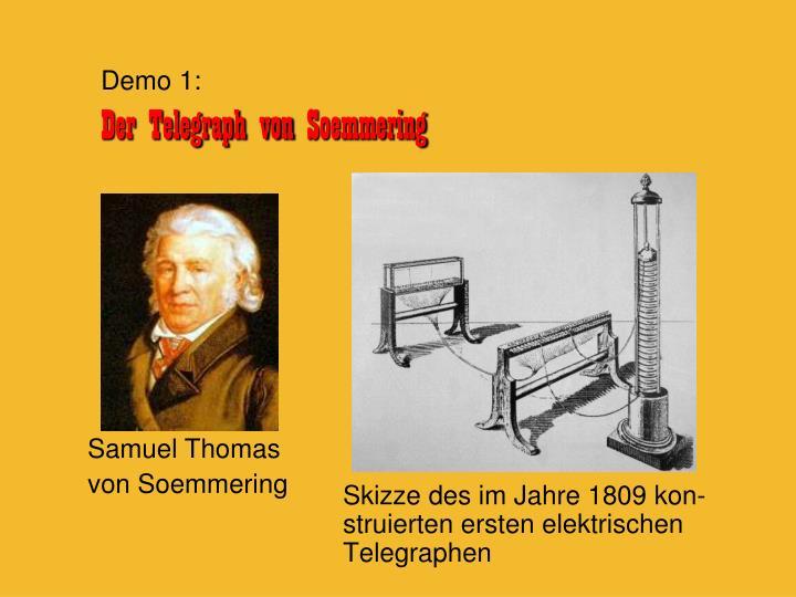 Skizze des im Jahre 1809 kon-struierten ersten elektrischen Telegraphen