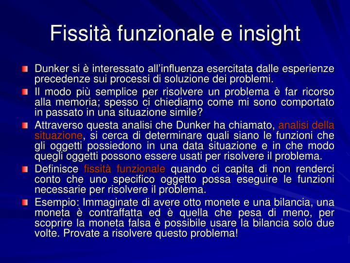 Fissità funzionale e insight
