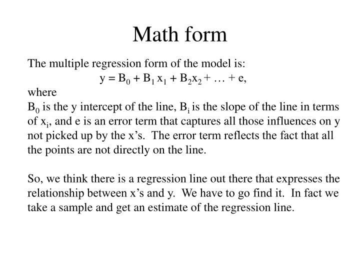Math form