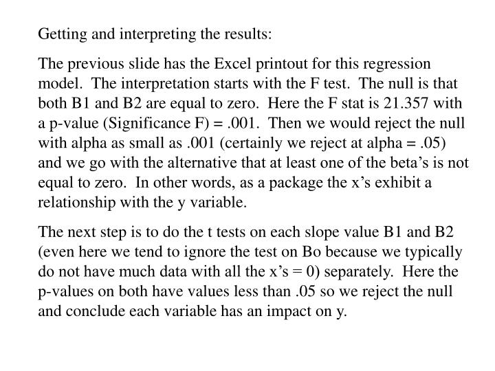 Getting and interpreting the results: