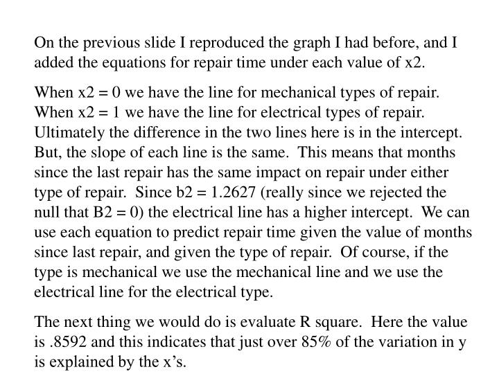 On the previous slide I reproduced the graph I had before, and I added the equations for repair time under each value of x2.
