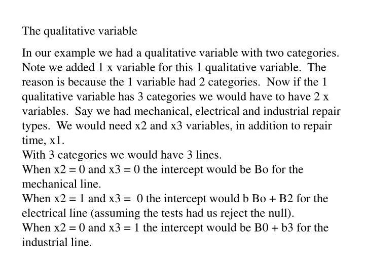 The qualitative variable